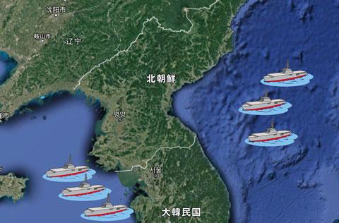 朝鮮半島を囲む米空母