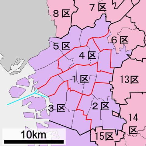 衆議院選挙大阪選挙区中心部の区割り