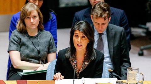 国連安全保障会議でのヘイリー国連大使