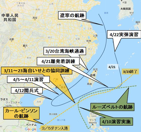 米中空母の動き