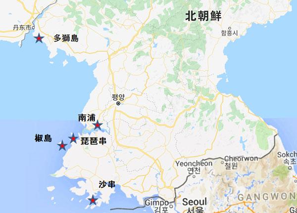 北朝鮮海軍西海艦隊基地配置図