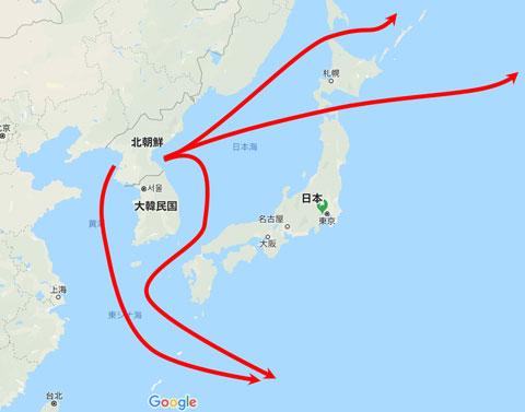 北朝鮮の潜水艦の太平洋進出コース