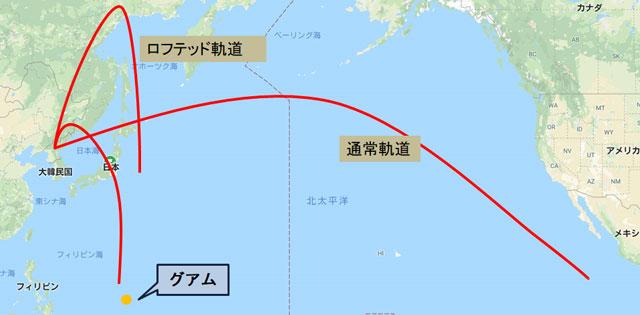 北朝鮮が弾道ミサイル発射実験を行った場合の予想コース